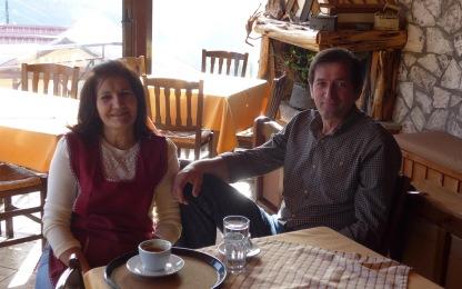 Kóstas and Yióta, proprietors of the Panórama guesthouse in Epinianá